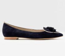 Flache Albertina Schuhe Navy Damen
