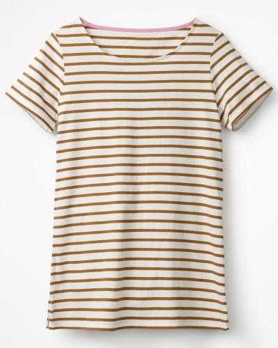 Kurzärmeliges Bretonshirt Brown Damen