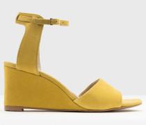 Demi Schuhe mit Keilabsatz in Rubinrot Gelb Damen