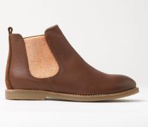 Chelsea-Stiefel aus Leder Helles Braun Mädchen Boden