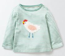 T-Shirt mit gehäkelter Applikation Grün Baby