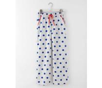 Gewebte Pyjamahose Blau Damen