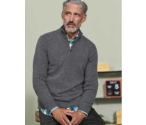 Kaschmirpullover mit halbem Reißverschluss Grau Herren