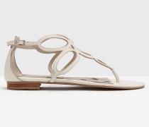 Sandalen mit Kreisdesign Elfenbeinfarben Damen