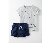 Pyjamaset aus Jersey Navy Mädchen Boden