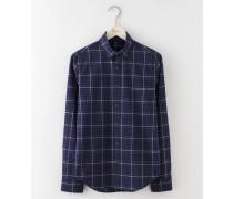 Slim Fit Casual Poplin Shirt Navy Herren