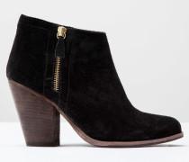 Stiefel mit flacher Sohle und Reißverschluss Schwarz Damen