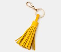 Schlüsselring aus Leder mit Quaste Yellow Damen