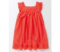 Kleid mit Lochstickerei Koralle Mädchen