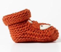 Gestrickte Babyschuhe mit Fuchsmotiv Orange Baby