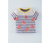 Gestreiftes T-Shirt mit Motiv Grau Baby Boden