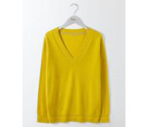 Lässiger Kaschmirpullover mit V-Ausschnitt Gelb Damen