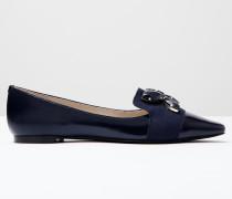 Flache Wow Schuhe mit Schmucksteinbesatz Navy Damen