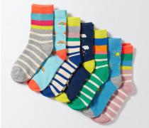 Socken im 7er-Pack Gestreift Mädchen