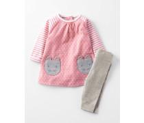 Hübsches Set aus Kleid mit Taschen und Leggings Pink Baby Boden