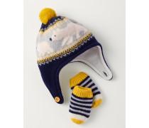 Mütze- & Fäustlinge-Set aus Schurwolle Navy Baby Boden