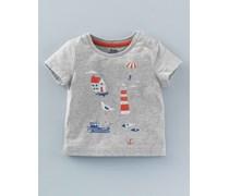Abenteuer-T-Shirt mit Meeresmotiv, Grau, Boden