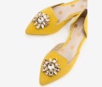 Flache Leah Schuhe mit Schmucksteinbesatz Yellow Damen