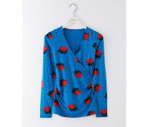 Langärmliges Jerseyshirt in Wickeloptik Blau Damen