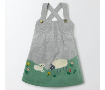 Strickkleid mit Farmmotiv Grau Baby Boden