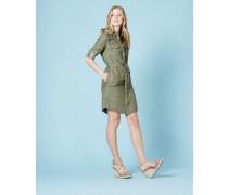 Hemdblusenkleid zum Hineinschlüpfen Khaki Damen