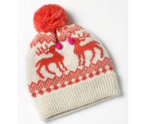 Weihnachtliche Mütze Elfenbeinfarben Mädchen Boden