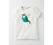 Schmales Shirt mit Grafikmuster Elfenbeinfarben Mädchen