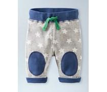 Blaugrau Meliert mit kleinen Sternen/Segelblau Enge Wendehose mit Knieflicken