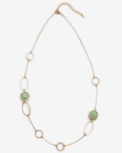 Formschöne Halskette mit Halbedelsteinen Gold Damen