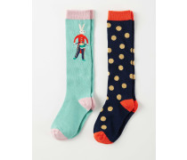 2er-Pack weihnachtliche Socken Bunt Mädchen