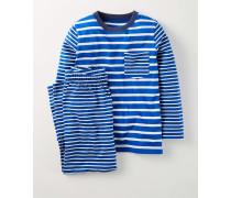 Pyjamaset mit Mustermix Blau Jungen