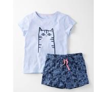 Pyjamaset aus Jersey Blau Mädchen Boden