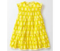 Schwingendes Webkleid Gelb Mädchen