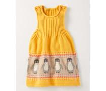 Fröhliches Strickträgerkleid Gelb