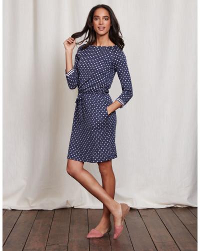 boden damen kleid mit tupfen und streifen blau damen boden reduziert. Black Bedroom Furniture Sets. Home Design Ideas