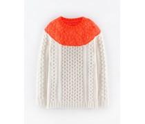 Langer Pullover mit Zopfstrickmuster Elfenbeinfarben Damen Boden