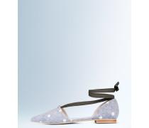 Flache Florence Schuhe mit spitzer Zehenpartie Grau Damen