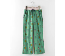 Gewebte Pyjamahose Grün Damen