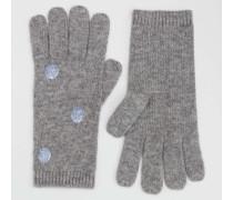 Handschuhe mit Metallic-Tupfen Grau Damen Boden