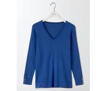 Tilly Lässiger Pullover mit V-Ausschnitt Blau Damen