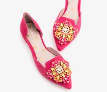 Flache Leah Schuhe mit Schmucksteinbesatz Pink Damen
