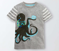 T-Shirt mit Meeresmotiv Grau Jungen