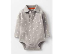 Klassischer Body im Poloshirt-Stil Grau
