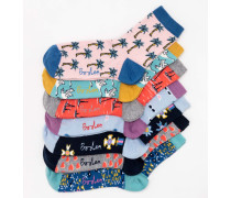 Socken im 7er-Pack Elfenbeinfarben Damen Boden
