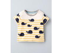 Gestreiftes T-Shirt mit Motiv Cremefarben