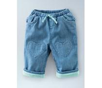 Blaues Faux-Uni Hose mit Herzflicken