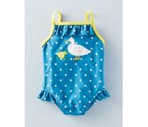Küstenblaue Tupfen/Enten Badeanzug für Mädchen