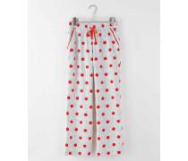 Gewebte Pyjamahose Rot Damen