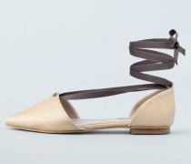 Flache Florence Schuhe mit spitzer Zehenpartie Gold Damen