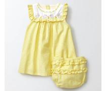 Besticktes Rüschenkleid Gelb Baby Boden